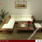 Mẫu bàn ghế gỗ chữ L N170