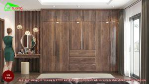 Thiết kế tủ quần áo gỗ óc chó CT522 cho nhà rộng