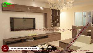 Thiết kế phòng khách gỗ óc chó tk103a3