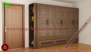 Mẫu tủ quần áo gỗ óc chó CT511b2 đơn giản độc đáo