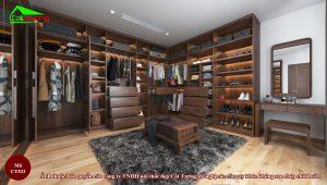 Thiết kế tủ quần áo gỗ óc chó CT523 cho biệt thự