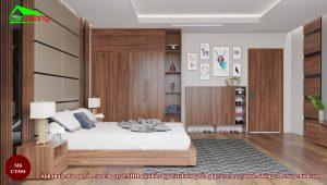 Mẫu tủ quần áo gỗ óc chó CT534 hiện đại