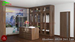 Tủ quần áo gỗ óc chó CT536 độc đáo với cửa kính và bàn đảo