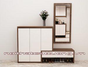 Mẫu tủ giầy gỗ tự nhiên với thiết kế tiện dụng