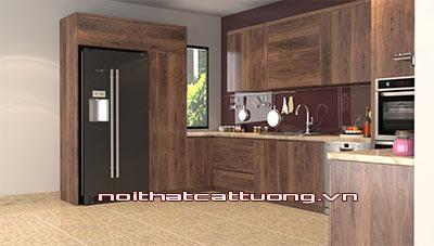 Tủ bếp gỗ óc chó CT808