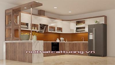 Tủ bếp gỗ óc chó CT814