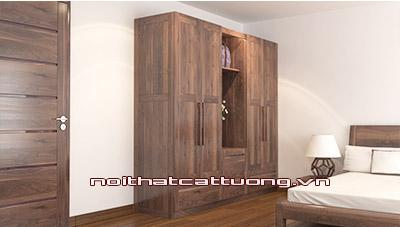 Tủ quần áo gỗ óc chó CT517