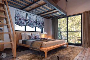 Giường ngủ gỗ tự nhiên thiết kế đơn giản