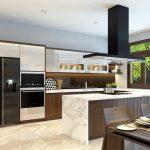 Tủ bếp gỗ óc chó hiện đại và sang trọng