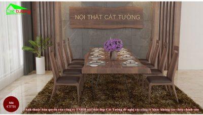 Bàn ghế ăn gỗ óc chó CT721 n1