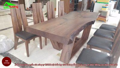 Bàn ghế ăn gỗ óc chó ct722 n1