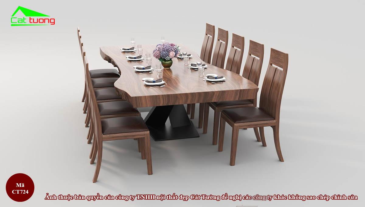 Bàn ghế ăn gỗ óc chó CT724 c
