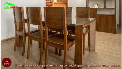 Bàn ghế ăn gỗ óc chó ct725 3