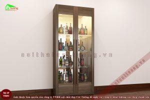 Tủ rượu tủ trang trí gỗ óc chó n3