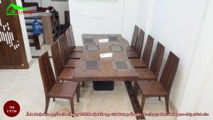 Bàn ghế ăn gỗ óc chó CT726 8