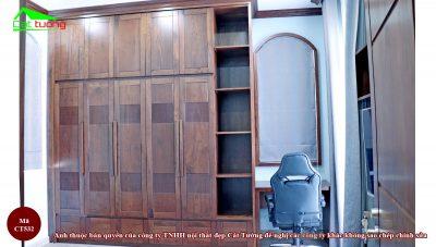 Tủ quần áo gỗ óc chó CT532 đẹp sang trọng