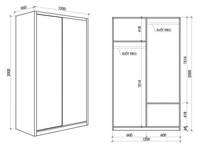 Kích thước tủ quần áo 2 cánh cho phòng ngủKích thước tủ quần áo 2 cánh cho phòng ngủ