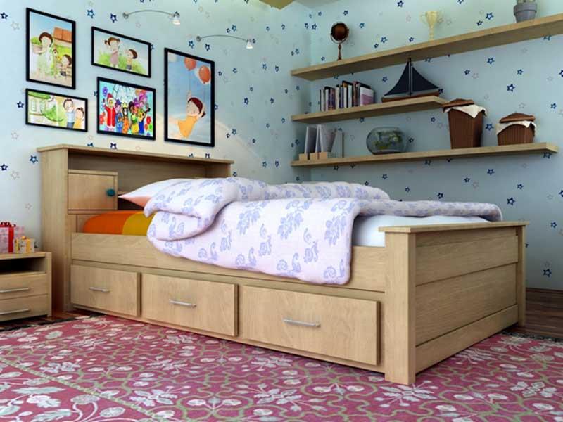 Giường 1m2 có ngăn kéo đẹp hiện đại