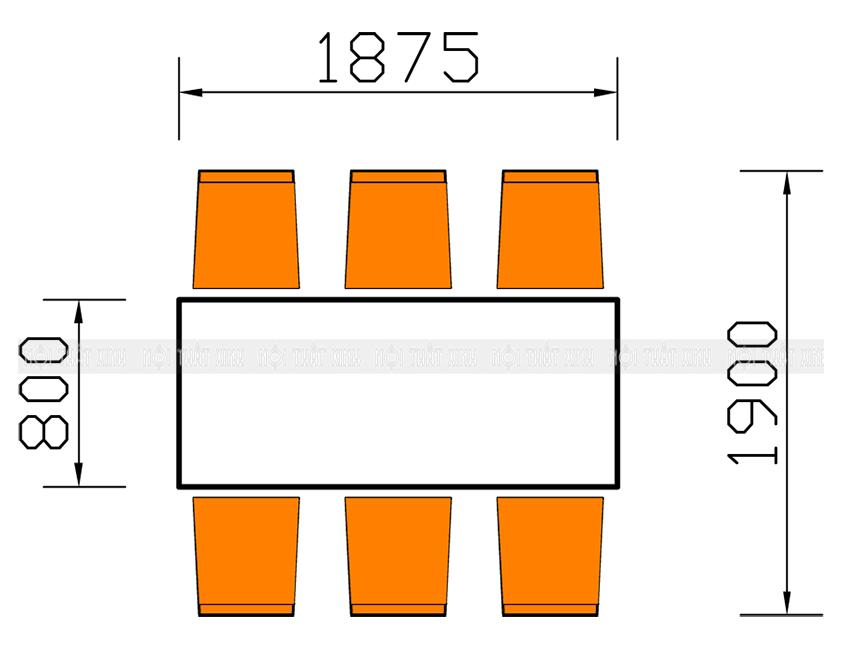 Kích thước bàn ăn 6 người chi tiết