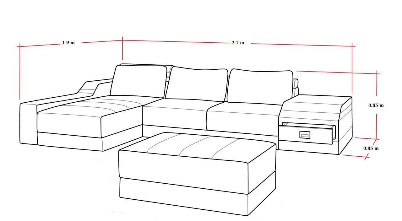 Kích thước sofa chữ L chi tiết