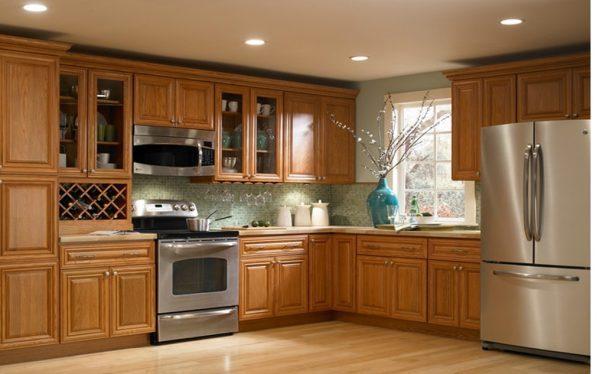 Mẫu tủ bếp gỗ sồi Mỹ bền đẹp