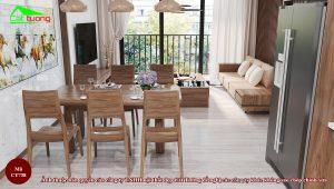 Bàn ghế ăn gỗ óc chó CT738 f