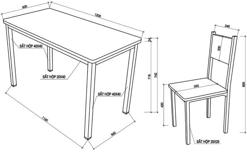 bàn làm việc kích thước