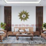 Bàn ghế gỗ tự nhiên phòng khách sang trọng