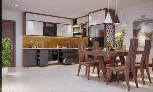 Nội thất phòng bếp bằng gỗ óc chó