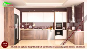 Tủ bếp gỗ óc chó CT807
