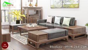 sofa gỗ óc chó CT158a