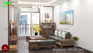 sofa gỗ óc chó CT158c