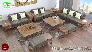 sofa gỗ óc chó CT161a