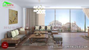 sofa gỗ óc chó CT161c